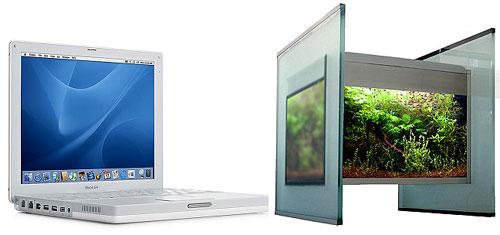 """Bild: Über mich und der Wunsch nach Individualität / Der Größenvergleich - Das Design Aquarium """"Limbo volume ONE"""" (2005) mit einem MAC Book 13"""