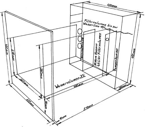 """Bild: Die technische Zeichnung von dem Arnold Design Aquarium """"Limbo volume TWO""""."""