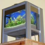"""Bild: Arnold Design Aquarien / Angelehnt an den gleichnamigen Film entstand 2007 dieses Kunstwerk. Arnold Design Aquarium """"Foxtrott House at the Lake"""" (2007) mit 14 Liter Wasserinhalt. Zwei Drittel der Grundfläche (9 Liter) sind bepflanzt, ein Drittel (5 Liter) ist Filter. Beleuchtung 2 x 9 Watt Osram 865 Kompaktleuchtstoffröhren. Experience The Precision. Das Aquarium steht heute in Güstrow/Mecklenburg-Vorpommern."""