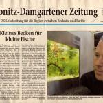 """Bild: Die Lichteinheit / Aquaristik auf der Größe einer DIN A4 Seite. Am Mittwoch, den 18.05.2005 erschien in der Ribnitz-Damgartener Zeitung der Artikel """"Kleines Becken für kleine Fische"""". Im Bild wird der erste Prototyp """"Squaredance volume ONE"""" gezeigt."""
