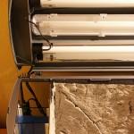 Bild: Licht und Filtertuning / Tetra AquaArt Aquarium (2010) Blick auf den links eingebauten 3-Kammerfilter, der mit mehr als 9 Liter Filtervolumen unschlagbar sein dürfte. Ein derartig umgebautes Aquarium ist noch dazu sehr sicher - Außenfilter bedeuten Schlauchverbindungen, die immer eine Sollbruchstelle darstellen.