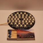 Bild: 6-Pin Superflux LED, Größenvergleich Linse / Platine